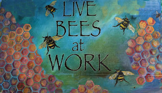 Painting of Live Bees at Work by Mari Nicolson